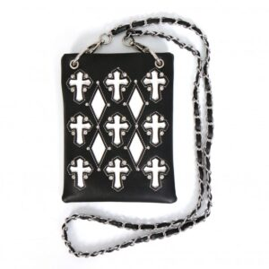 Black with White Cut out Crosses Hipster Bag
