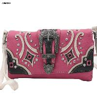 Hot Pink Buckle Wristlet and Crossbody Style Wallet