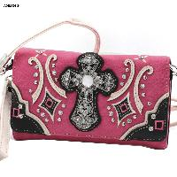 Hot Pink Cross Wristlet and Crossbody Style Wallet