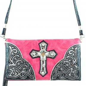 Pink Studded Cross Wristlet and Crossbody Style Wallet