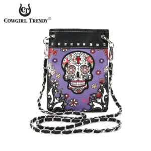 Purple Candy Skull Hipster Bag