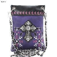 Purple and Pink Cross Hipster Bag